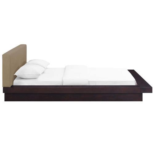 Freja Queen Fabric Platform Bed in Cappuccino Latte