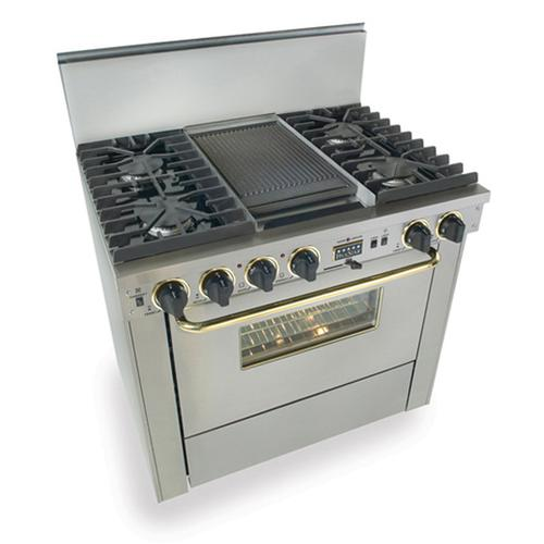 """Five Star - 36"""" Dual Fuel, Convect, Self-Clean, Sealed Burners, Stainless Steel with Br"""