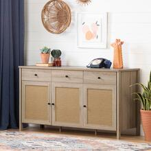 Sideboard - Rustic Oak and Faux Printed Rattan