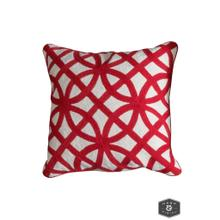 See Details - BEDFORD PILLOW- RED  Hand Embroidered Wool on Cotton  Down Feather Insert