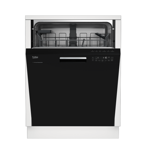 Tall Tub Black Dishwasher, 14 place settings, 48 dBa, Front Control