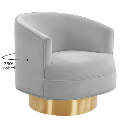 Tov Furniture - Stella Grey Velvet Swivel Chair