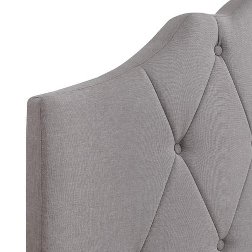 Saddle Tufted Full Upholstered Bed in Smoke Gray