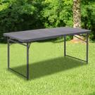 4-Foot Height Adjustable Bi-Fold Dark Gray Plastic Folding Table with Carrying Handle Product Image
