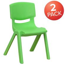 "2 Pack Green Plastic Stackable School Chair with 12"" Seat Height"