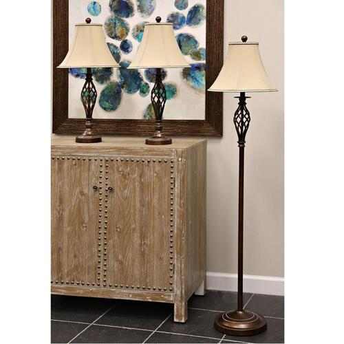 QB-Barclay brass multi pack set includes 2 table lamps floor lamp Natural linen shades