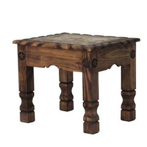 L.M.T. Rustic and Western Imports - Medio finish End Table with rope stone and star