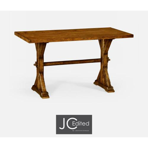 Small solid country walnut topped dining table