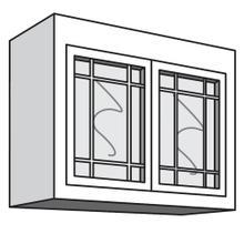 "See Details - Variable Bridge Top Unit, 2 Glass Doors with Open Center Mullions, 1 Adjustable Shelf, 12""d, 30""w "" 42""w"