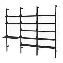 Branch-3 Shelving Unit with Desk Black Uprights Black Brackets Black Shelves