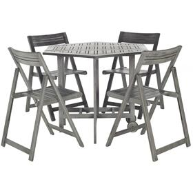 Kerman Table and 4 Chairs - Grey Wash