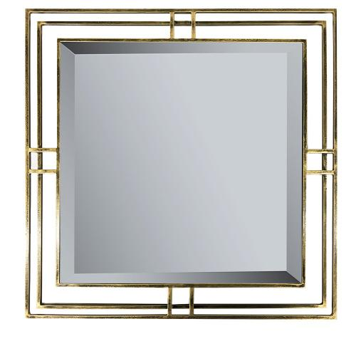 Crestview Collections - Henson Floating Square Beveled Mirror in Antique Brass Frame