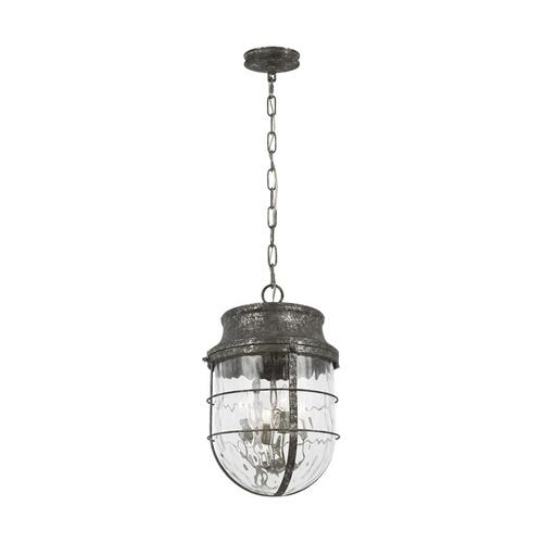 Parson Large Pendant Distressed Silver Leaf