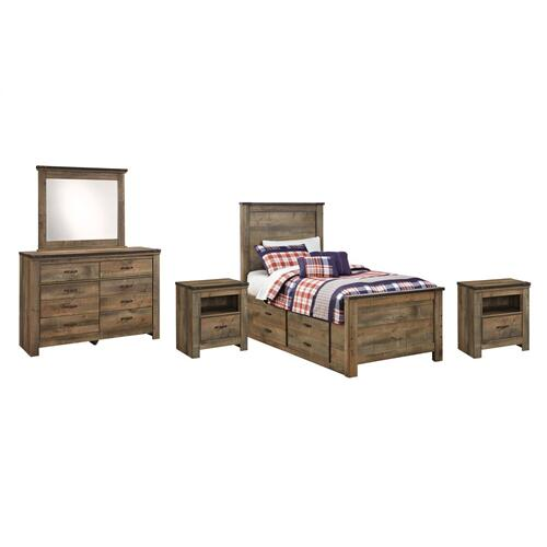 Ashley - Twin Panel Bed With 2 Storage Drawers With Mirrored Dresser and 2 Nightstands