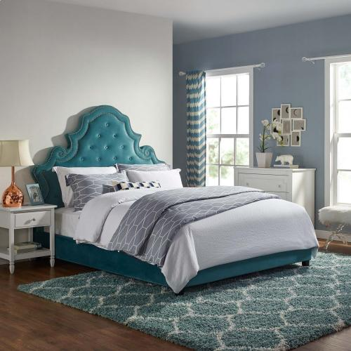Valentina Queen Tufted Nailhead Performance Velvet Platform Bed in Sea Blue