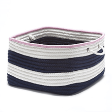 "Nautical Stripe Basket AU11 Navy Pink 14"" X 10"""