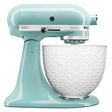 See Details - Artisan® Series Tilt-Head Stand Mixer with White Mermaid Lace Bowl - Aqua Sky