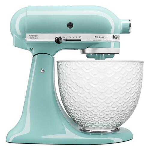 Gallery - Artisan® Series Tilt-Head Stand Mixer with White Mermaid Lace Bowl - Aqua Sky