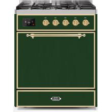 See Details - Majestic II 30 Inch Dual Fuel Liquid Propane Freestanding Range in Emerald Green with Brass Trim