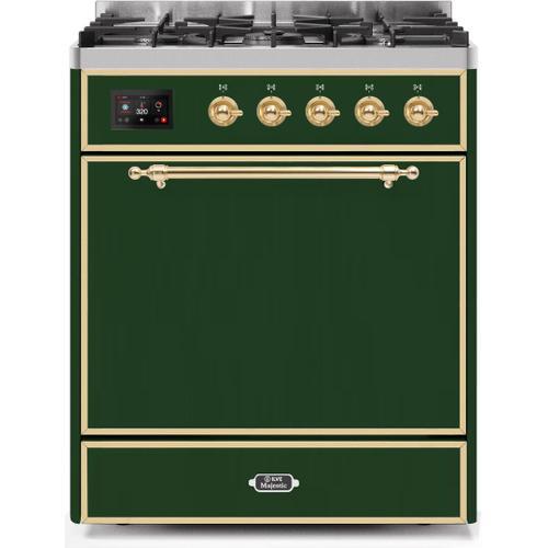 Product Image - Majestic II 30 Inch Dual Fuel Liquid Propane Freestanding Range in Emerald Green with Brass Trim