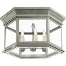 Visual Comfort CHC4126AN-CG E. F. Chapman Club 3 Light 16 inch Antique Nickel Flush Mount Ceiling Light in Clear Glass