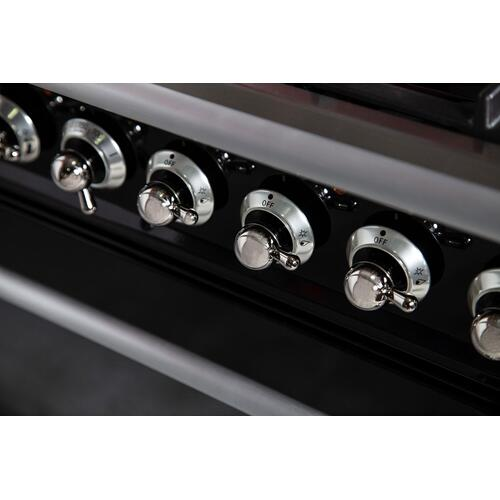 Nostalgie 48 Inch Dual Fuel Natural Gas Freestanding Range in Matte Graphite with Chrome Trim