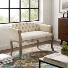 Crown Vintage French Upholstered Settee Loveseat in Beige