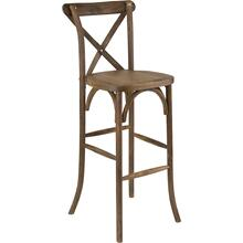 Dark Antique Wood Cross Back Barstool