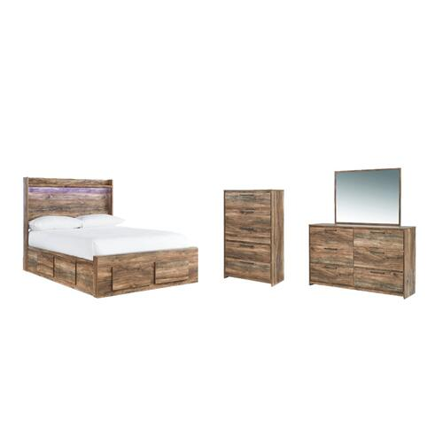 Full Panel Bed With 6 Storage Drawers With Mirrored Dresser and Chest