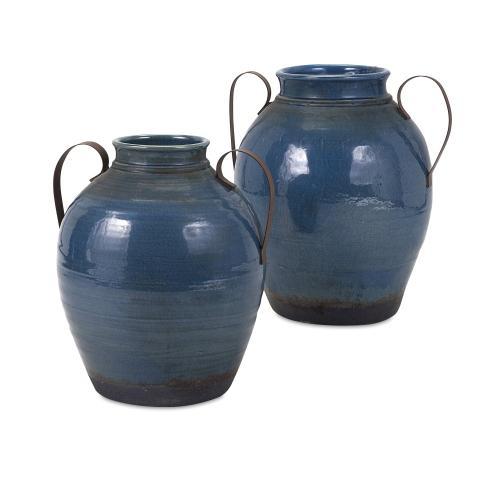 Harrisburg Small Vase with Metal Handles