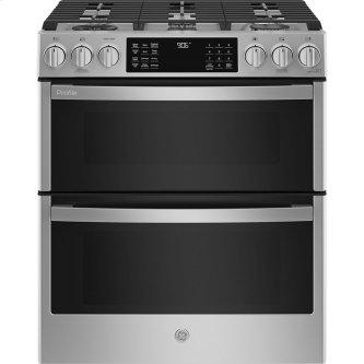 """GE Profile 30"""" Slide-In Double Oven Gas Range with Wifi Stainless Steel - PCGS960YPFS"""