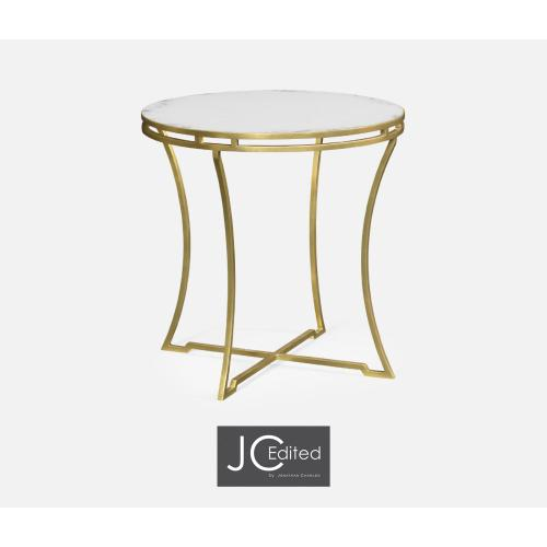 Gilded Iron Round Side Table with An Antique Glass Top