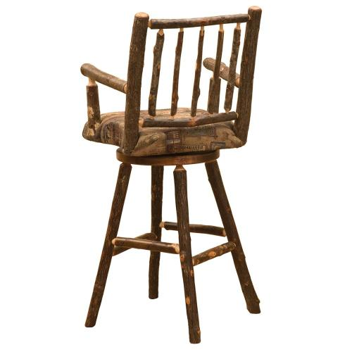 """Swivel Barstool with Arms - 30"""" high - Natural Hickory - Standard Leather"""