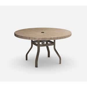 """48"""" Round Dining Table (with Hole) Ht: 27.25"""" 37XX Universal Aluminum Base (Model # Includes Both Top & Base)"""