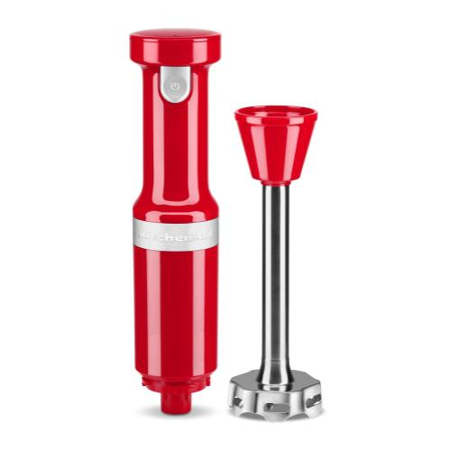 Cordless Variable Speed Hand Blender with Chopper and Whisk Attachment - Passion Red