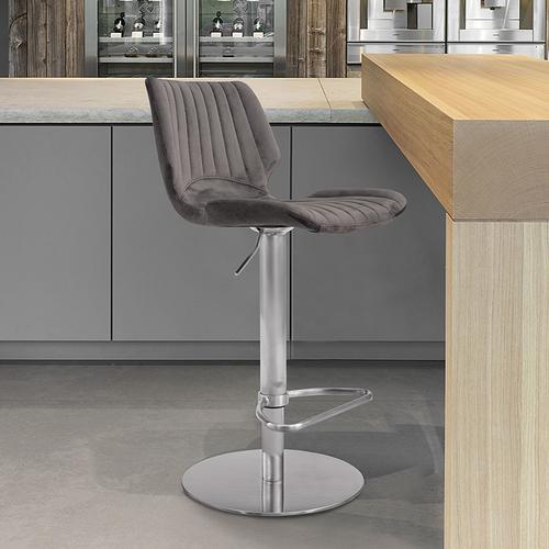 Anika Adjustable Swivel Barstool with Brushed Stainless Steel Finish and Grey Velvet