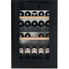 "24"" Fully Integrated Black Glass Door Tip Open 33 Bottles 2 Zone Wine"