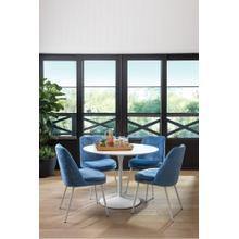 Aubreita Dining Chair In Royal Blue Velvet Fabric and Brush Nickel Legs