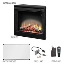 """See Details - Dimplex 33"""" Slim Line Built-In Firebox With the Glass Pane Kit, Plug Kit, and Remote Control Accessories"""