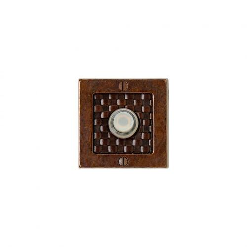 Square Designer Doorbell Button Silicon Bronze Brushed with Brown Tapestry Leather