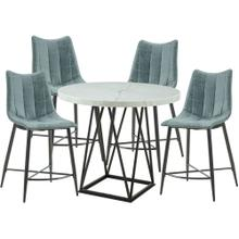 See Details - Hanover Bergen 5-Piece Dining Set with Round Counter-Height Table and 4 Tufted Chairs, HDR007-5PC-WH