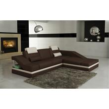 Divani Casa 5039B Modern Brown and White Bonded Leather Sectional Sofa