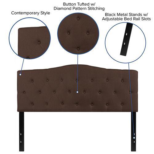 Cambridge Tufted Upholstered Queen Size Headboard in Dark Brown Fabric