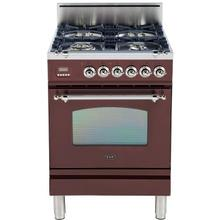 Product Image - Nostalgie 24 Inch Gas Natural Gas Freestanding Range in Burgundy with Chrome Trim