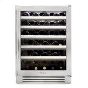 24 Inch Single Zone Stainless Glass Door Right Hinge Undercounter Wine Cabinet
