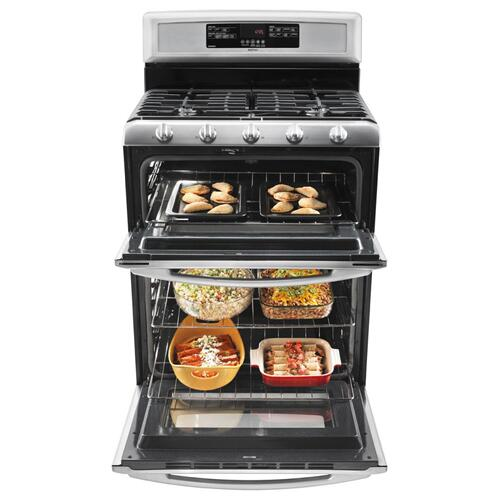 Maytag - 6.0 cu. ft. Capacity Double Oven Gas Range with Speed Heat Burner- IN STORE ONLY (FLOOR MODEL)