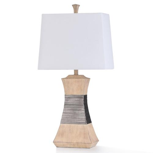 HAVERHILL TABLE LAMP  16in w. X 32in ht. X 9in d.  Transitional Nickel Strap Banded and Antique Iv