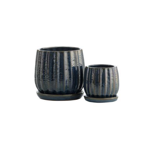 Alfresco Home - Blue Gherkin Petits Pots w/ attchd saucer, Set of 2