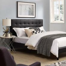 Paisley Tufted Twin Upholstered Faux Leather Headboard in Black
