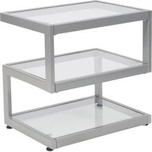 See Details - Ashmont Collection Glass End Table with Contemporary Steel Design